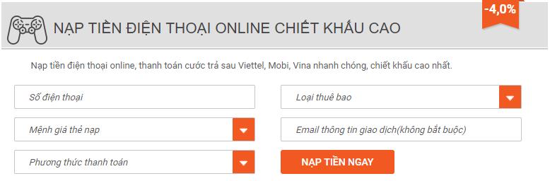 nạp tiền điện thoại qua Vietcombank ibanking