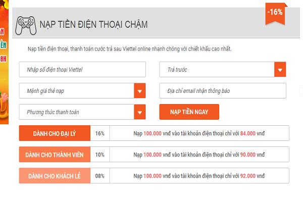 nạp tiền điện thoại viettel online