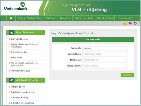 đổi mật khẩu tài khoản ibanking vietcombank
