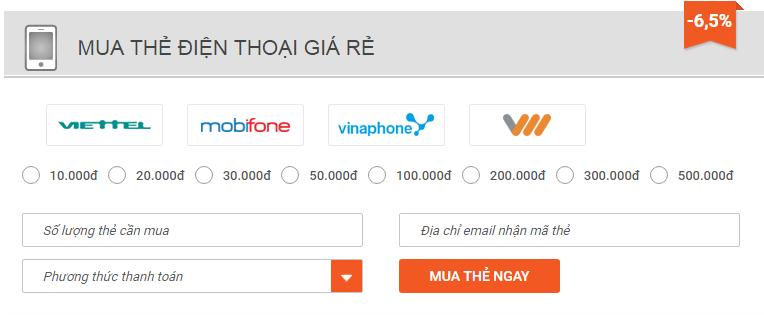 mua thẻ cào online bằng internet banking bidv