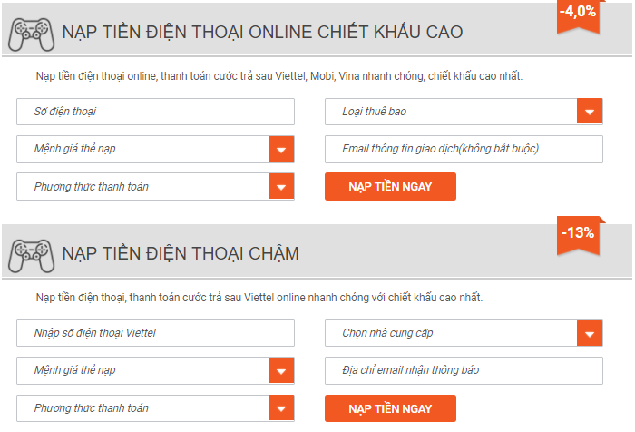 nạp tiền điện thoại online Viettel