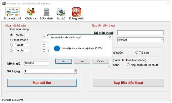 mua thẻ bằng phần mềm