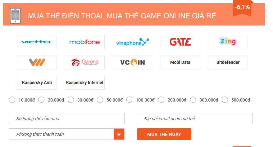 mua mã thẻ Garena online