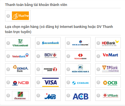 mua thẻ điện thoại bằng thẻ Agribank