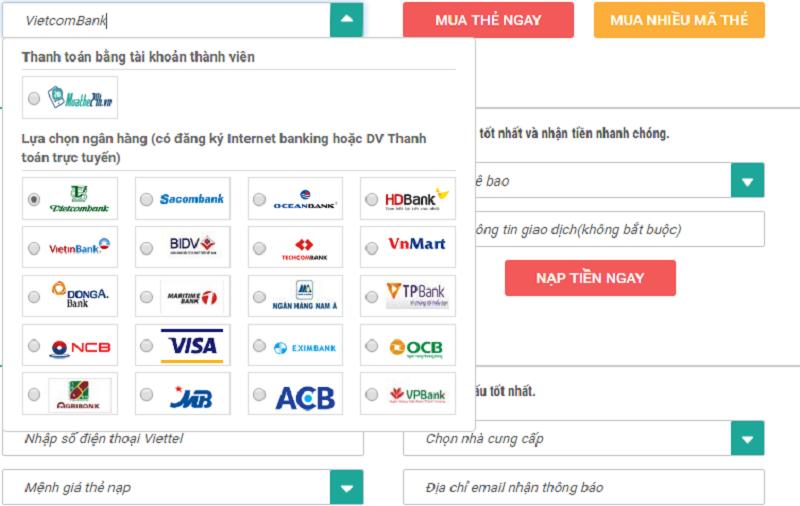 Chiết khấu và nhà cung cấp khi mua thẻ điện thoại bằng internet banking vietcombank