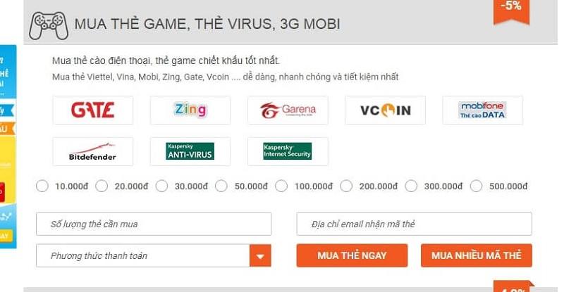 Hướng dẫn mua thẻ game bằng tài khoản điện thoại qua muathe123.vn