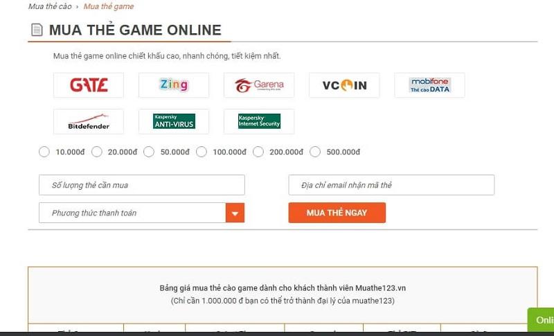 Các hình thức mua thẻ game tại muathe123.vn