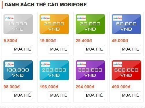 Nạp thẻ Mobifone bằng thẻ cào