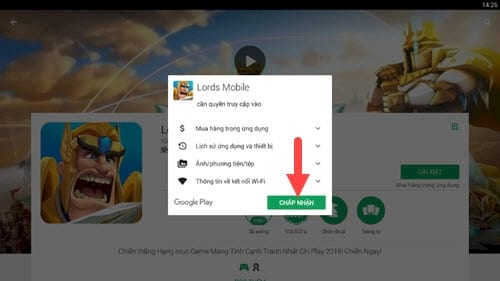Nạp thẻ Lord Mobile qua Google Play cho Android