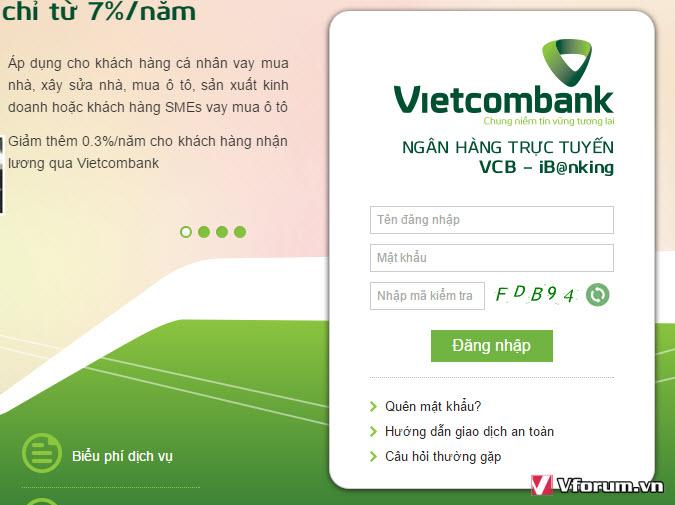 nạp tiền điện thoại vietcombank qua ibanking
