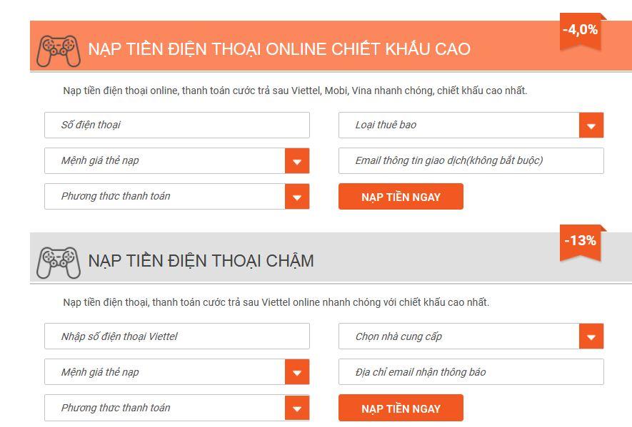 nạp thẻ điện thoại online vietcombank