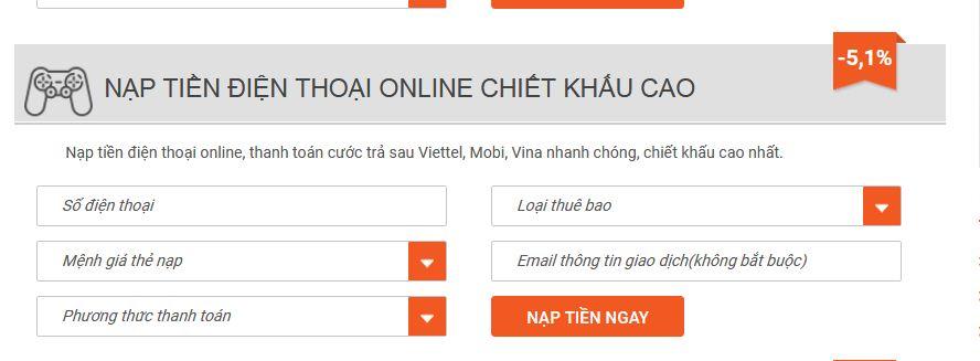 nạp mã thẻ Vinaphone qua Vietcombank