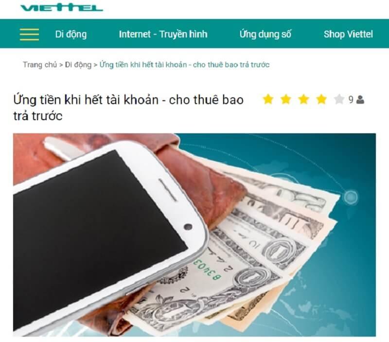 Dịch vụ ứng tiền Viettel nhanh nhất từ 5k, 10k